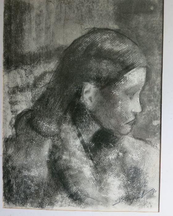 FEMME AU MANTEAU DE  FOURRURE  1990 : PHILIPPE DARGENT - PEINTRE DESSINATEUR LIEGE