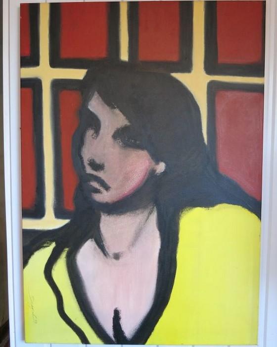 FEMME AU CHEMISIER JAUNE   2000 : PHILIPPE DARGENT - PEINTRE DESSINATEUR LIEGE