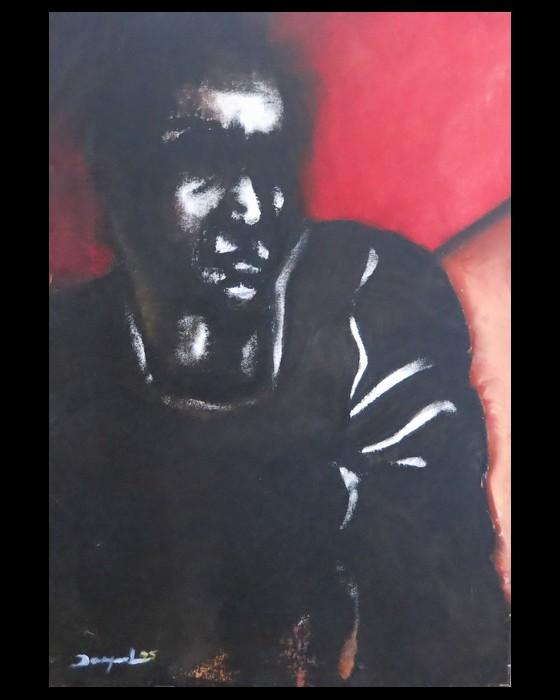 HOMME NOIR FOND ROUGE   1995 : PHILIPPE DARGENT - PEINTRE DESSINATEUR LIEGE