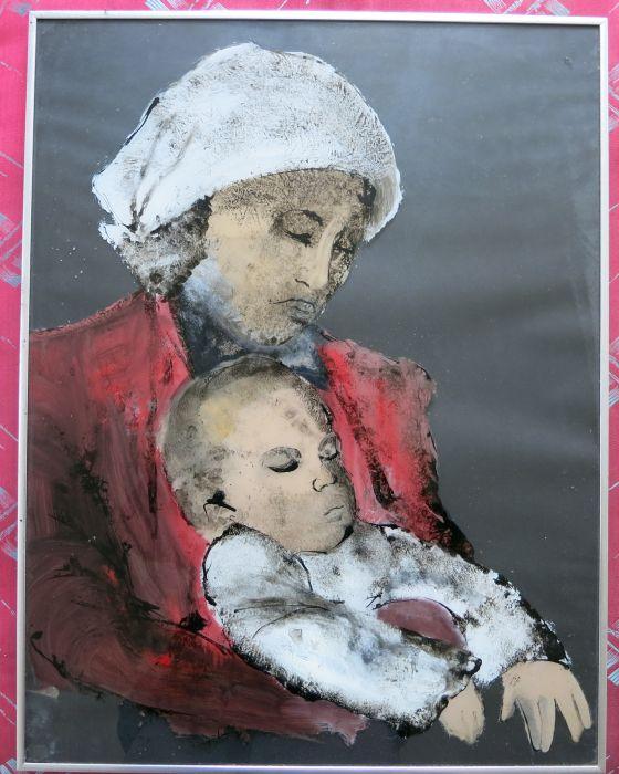 MERE ET ENFANT   1991 : PHILIPPE DARGENT - PEINTRE DESSINATEUR LIEGE