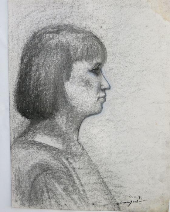PORTRAIT DE MODELE FEMININ (PROFIL) : PHILIPPE DARGENT - PEINTRE DESSINATEUR LIEGE