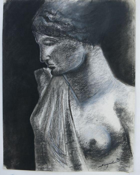 BUSTE FEMININ EN PLATRE : PHILIPPE DARGENT - PEINTRE DESSINATEUR LIEGE