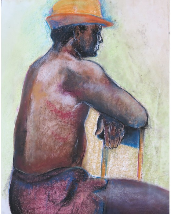 Homme au chapeau orange 1992 : PHILIPPE DARGENT - PEINTRE DESSINATEUR LIEGE