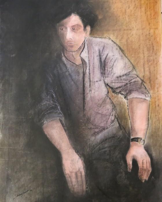 Modele à la chemise mauve  1991 : PHILIPPE DARGENT - PEINTRE DESSINATEUR LIEGE